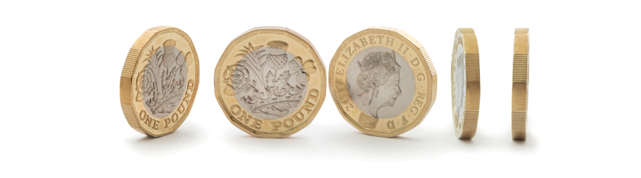 Pound coins illustrating the low cost of ireland.expost.uk